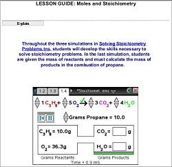 Moles/Stoichiometry - Lesson Guide: Chemistry: TI Science