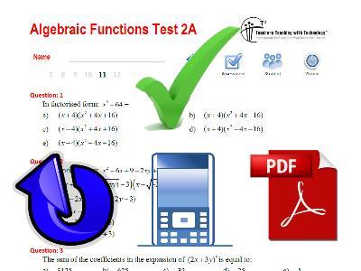 Algebraic Functions Test 2A: VIC: