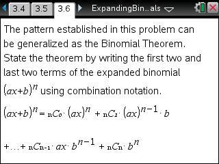 Classroom Activities: Expanding Binomials - Texas Instruments - content