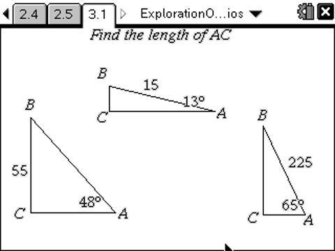 classroom activities exploration of trig ratios texas instruments