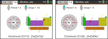 Screenshots from the Electron Configurations activity