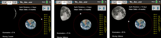 Screenshots from It's Just a Lunar Phase activity