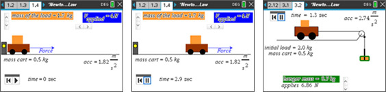 Screenshots from the Newton's Second Law activity