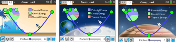 Screenshots from the Physics: Energy Skate Park activity