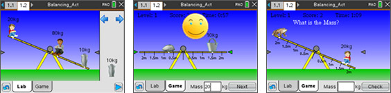 Screenshots from the Balancing Act activity
