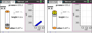 Screenshots from the Internal Energy and Work activity