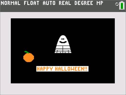 Calculator screen with a black background, ghost and pumpkin with the text Happy Halloween!!