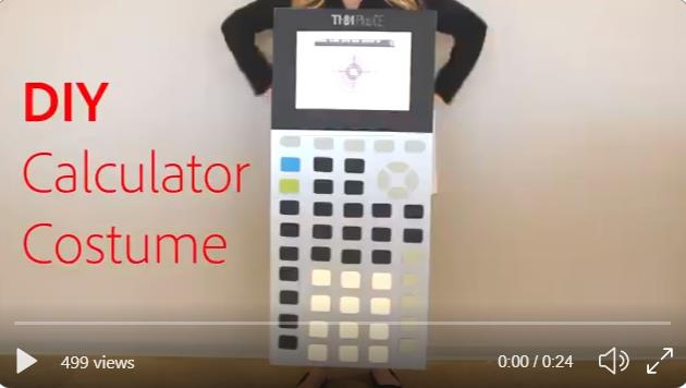 Video thumbnail of a woman in a TI-84 Plus costume. Text on left side says DIY Calculator Costume