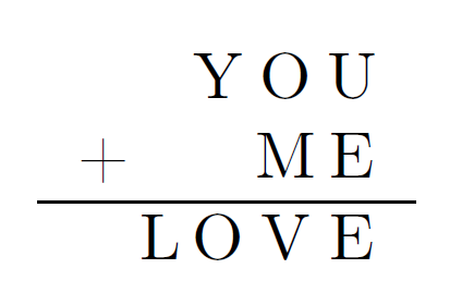 you plus me equals love