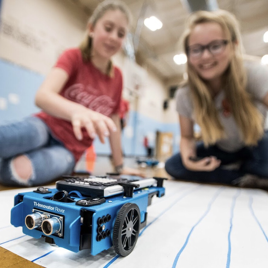 Students with TI-Innovator Rover