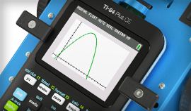 Close-up of TI-84 Plus CE graphing calculator on TI-Innovator Rover