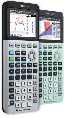 TI-84 Plus CE Graphing calculator Key Features Galaxy Gray and Measure Mint designs