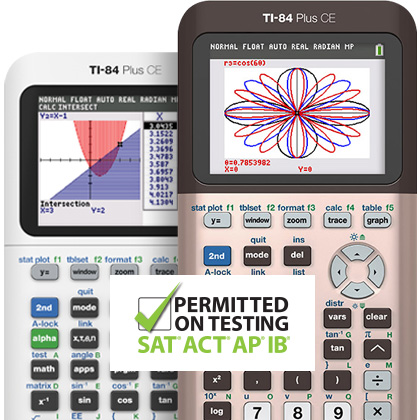 Product Detail TI-84 Plus CE Graphing calculator Rose Gold and Bright White designs - Permitted on SAT ACT AP exams