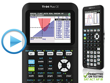 TI-84 Plus CE graphing calculator product detail play video hero