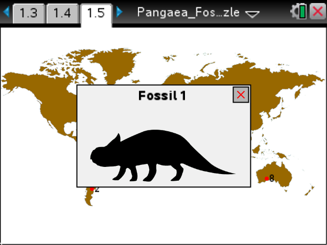 Pangea Puzzle With Fossils